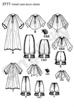 2777 Simplicity Pattern: Misses' Costumes